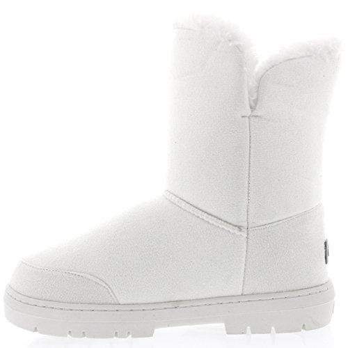Mujeres Doble Button totalmente alineada botas piel impermeable de la nieve del invierno Blanco