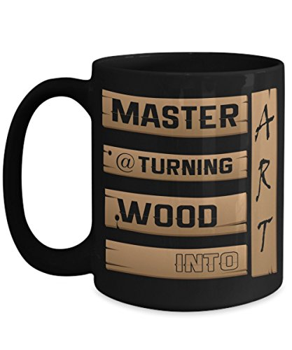 Proud DIY Woodworking Skill Ceramic Coffee Mug - Master At Turning Wood Into Art - Show Pride in All Your Work - Large15 ounce - Black