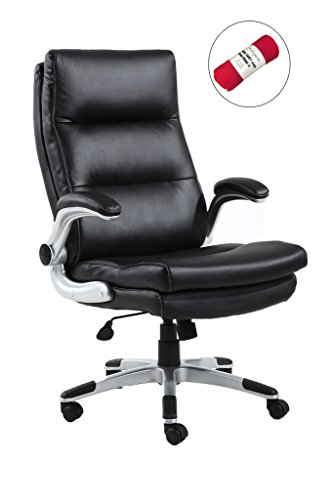 HollyHOME High Back Super Soft PU Leather Executive Chair with Flip-up Padded Arms