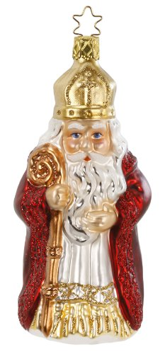 Inge Glas St. Nikolaus 1-007-14 German Blown Glass Christmas Ornament Gift Box