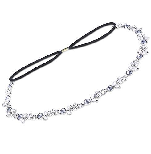 Udalyn 1-6 Pcs Rhinestone Elastic Headbands for Women Girls Beaded Bands Hair Accessories Handmade Jewelry