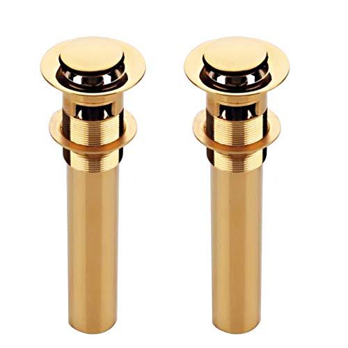 XVL Bathroom Faucet Vessel Vanity Sink Pop Up Drain Stopper with Overflow 2 Pieces Golden