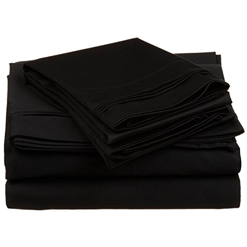 Luxor 20 Piece - Superior 100% Egyptian Cotton 4-Piece Solid Sheet Set, Queen, Black
