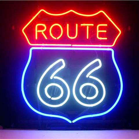 LinC Neon Sign- Route_66 Home Decor Light for Bedroom Garage Beer Bar and Nightclub, Real Glass Neon Light Sign for Wall Decor Art