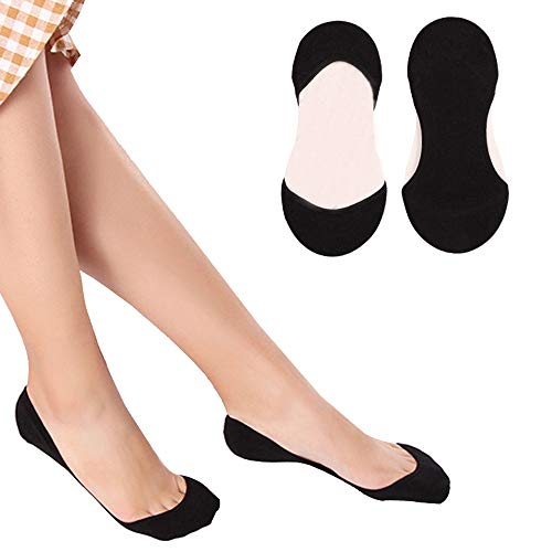 Puimentiua 1/6/10 No Show Socks/Non Slip Invisible Socks Flat Boat Socks/Ultra Low Cut Casual Cotton Liner Socks/for Women.