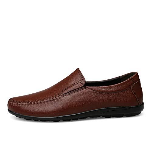 Zgsjbmh Hombres Bajos De Negocios Cuero Genuinos Marrón tamaño Liviano Mocasín Mocasín Único gommino Los 5cm 23 Diseño Suave morado Confort Y Zapatos 5cm Pisos 28 OC86wrOqx