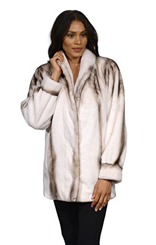 Semi Sheared Mink Fur Jacket with Bracelet Cuffs(Grey,XL)