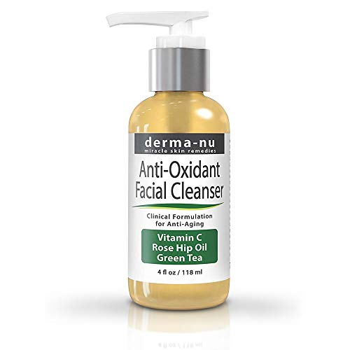 Natural Facial Cleanser with Vitamin C - Natural Anti Oxidant & Anti-Aging Face Wash for Women - Loaded with Powerful Antioxidants: Green Tea & Rose Hip Oil for Fine Lines & Wrinkles