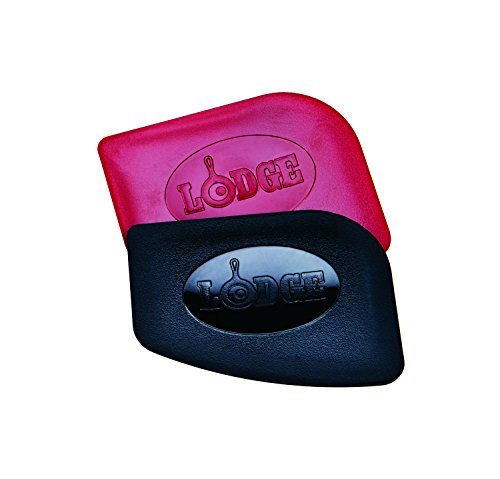 (Lodge Pan Scrapers. Handheld Polycarbonate Cast Iron Pan Cleaners. (2-Pack. Red/Black))