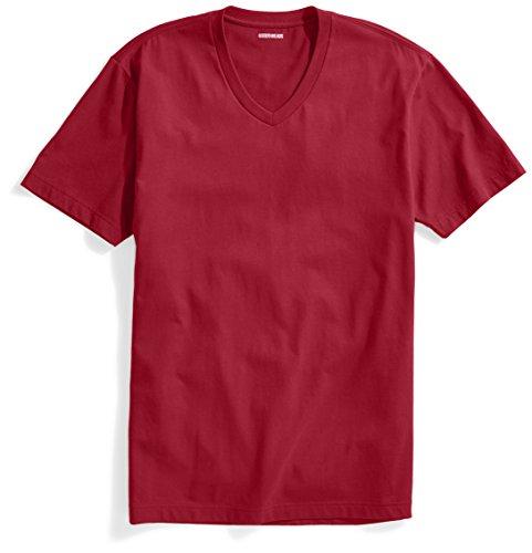 Goodthreads Men's The Perfect V-Neck T-Shirt Short-Sleeve Cotton, Red, Medium