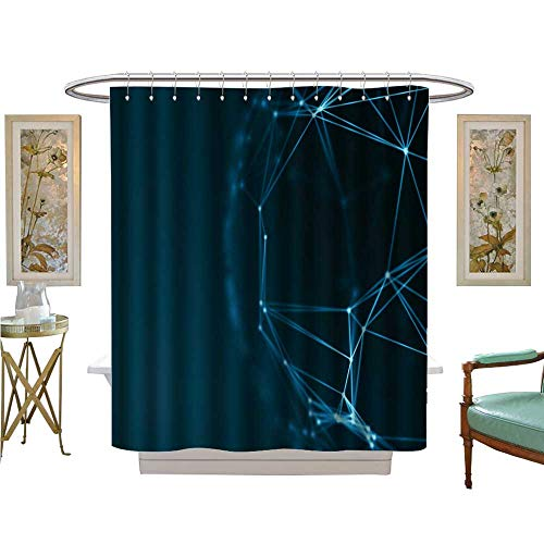 luvoluxhome Shower Curtains 3D Digital Printing Virtual Technology Background Fiber Virtual Optic Cables Fibre Connection Bathroom Decor Sets with Hooks W48 x -