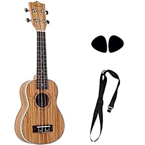 ADM 21 Inch Economic Handmade Wooden Soprano Ukulele Beginner Kit, Starter Outfit with Strap and Picks, Natural
