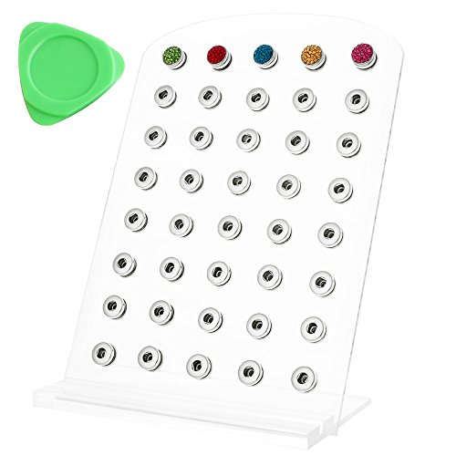 Lovmoment Display 12MM Clear Regular-sized Snap Jewelry Organizer Display Holds up to 40 Charms