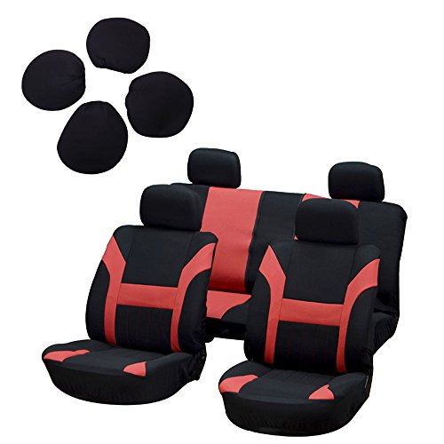 SCITOO Universal Black/Red Car Seat Cover w/Headrest 8Pcs Breathable Polyester Retractable