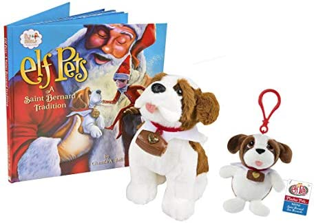 "New The Elf on the Shelf Elf Pets Plushee Pals Mini Clip-On 4/"" Saint Bernard"
