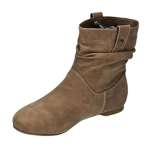 King Of Shoes Damen Stiefeletten Stiefel Boots Flache Schlupfstiefel Schuhe 90 Khaki 82