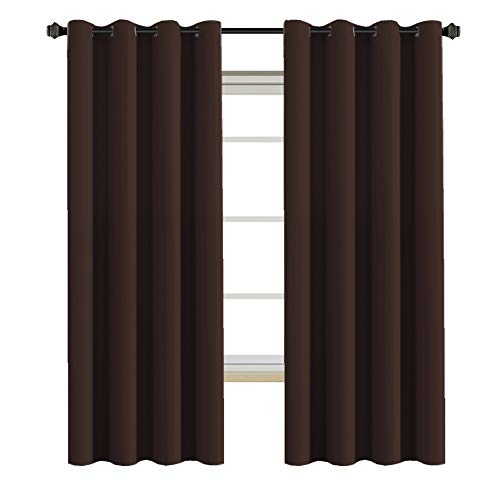 Insulated Blackout Curtains - Antique Copper Grommet Top Window Drapes - Chocolate Brown - 52