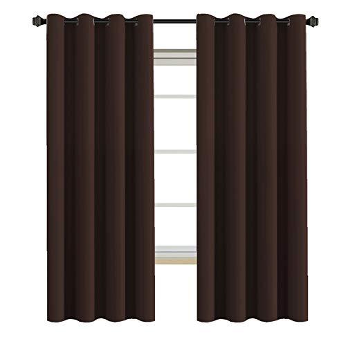Grommet Blackout Curtains - H.VERSAILTEX Thermal Insulated Blackout Curtains - Antique Copper Grommet Top Window Drapes - Chocolate Brown - 52