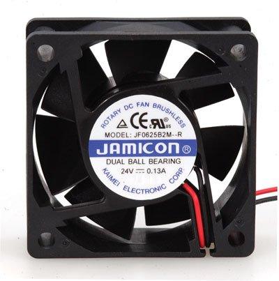 Jamicon JF0625B2M-005-065R DC Fan, Ball, 24 Volt, Flange Mount, 60 mm x 60 mm x 25 mm Size