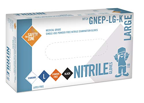Black Nitrile Exam Gloves - Medical Grade, Disposable, Powder Free, Latex Rubber Free, Heavy Duty, Textured, Non Sterile, Work, Medical, Food Safe, Cleaning, Wholesale, Size Extra Large (Box of 100)
