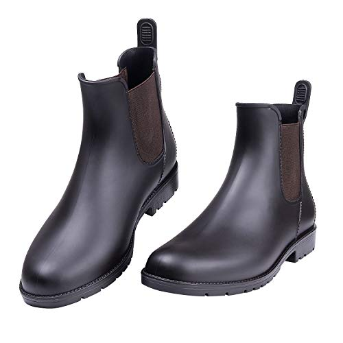 Asgard Women's Short Rain Boots Waterproof Black Elastic Slip On Ankel Booties BR40