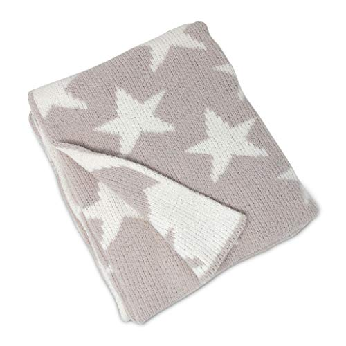 Living Textiles Chenille Baby Blanket Grey Stars | Ultra-Soft Throw Blanket for Cribs and Strollers | (40x30 inch)