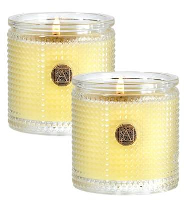 Aromatique Sorbet Set of 2 Textured Glass Scented Jar Candle