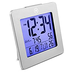 Marathon CL030050GG Desktop Alarm Clock with Date and Temperature. Easy to Use. Features Backlight, 2 Alarms and Repeating Snooze. 7 Language Choices. Batteries Included. Color - Graphite Grey.