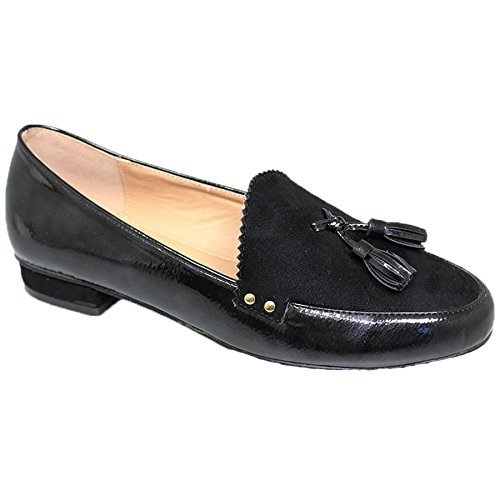 Tassel Stud Black Press Edge Faux BOUTIQUE Swerve Suede Loafer Serrated Leather FLC048 SAPPHIRE I7twxqv87