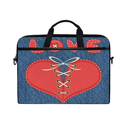 Price comparison product image MRMIAN Happy Valentine's Day Love and Laced Heart with Jeans 15 inch Laptop Case Shoulder Bag Crossbody Briefcase for Women Men Girls Boys with Shoulder Strap Handle,  Back to School Gifts