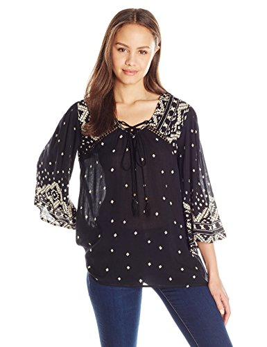 Angie-Womens-Bell-Sleeve-Top-with-Tassels
