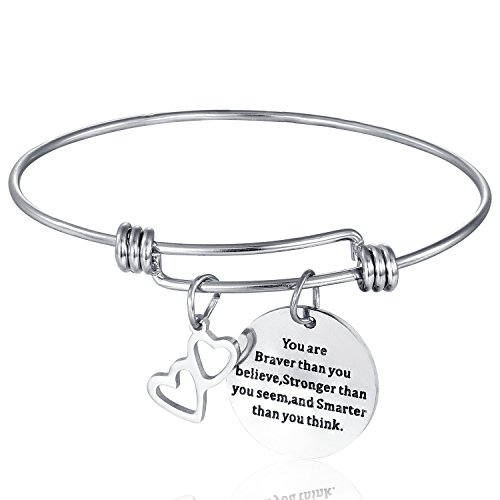 Expandable Stainless Steel Inspirational Bracelet