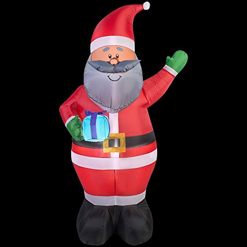 African American Gift (Christmas Inflatable 6.5' African American Santa Holding Gift By Gemmy)