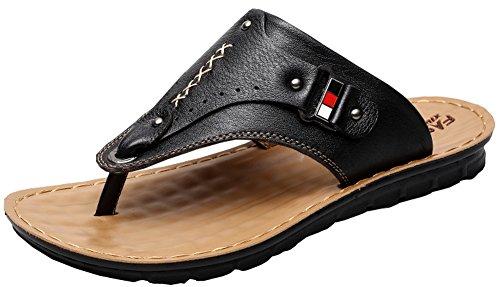 Vocni Menns Flip Flops Tilfeldig Lær Komfort Sko Sandaler Eu 38-44, Oss 6