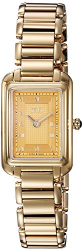 Fendi Women's 'Classico Rect' Swiss Quartz and Gold-Tone-Stainless-Steel Dress Watch, Color (Model: F701425000)