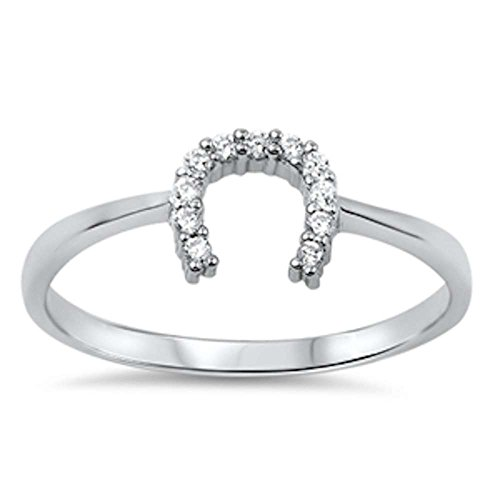 Horse Shoe Cubic Zirconia .925 Sterling Silver Ring Sizes 6
