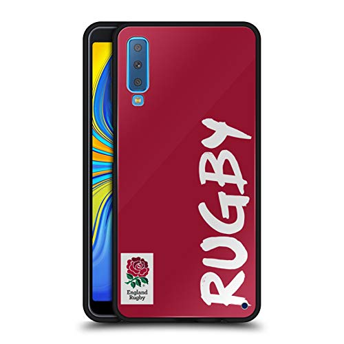 Official England Rugby Union Rugby 2016/17 The Rose Black Hybrid Glass Back Case Compatible for Samsung Galaxy A7 -
