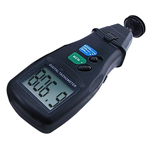 2 in 1 Digital Tachometer,Contact/Non-Contact Photo Tachometer RPM Tach Meter | 2.5-99,999 RPM Accuracy with Linear and Rotation Speed Measurement Wheels