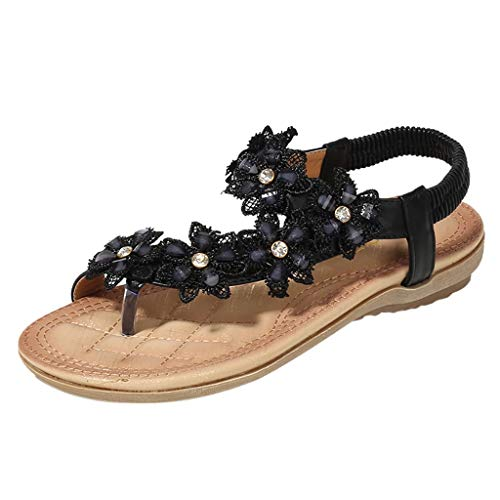 Sunhusing Ladies' New Vintage Classic Flower Crystal Embellished Comfort Clip Toe Elastic Band Flat Sandals Black