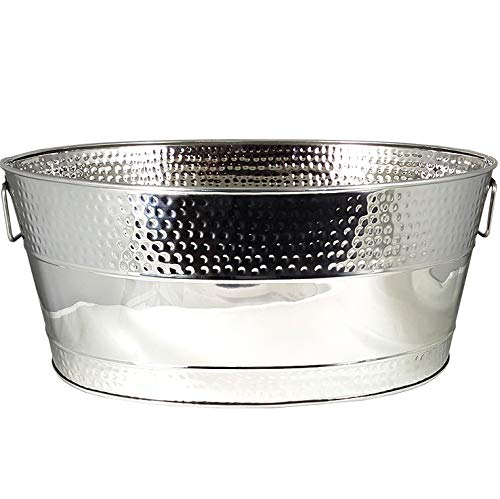 - BREKX Aspen Hammered Stainless Steel Beverage Tub & Party Drink Chiller - 25 Quarts - Mirror-Silver