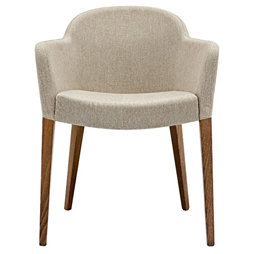 Calligaris Fabric Chair - Beautiful sand color and walnut legs chair