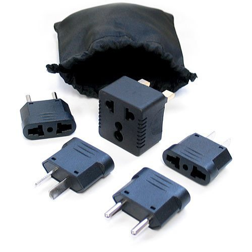 BoxWave Complete International Outlet Plug Adapter Kit - 5 Pc. Adapter Set Travel Kit with Carrying Pouch (Black)