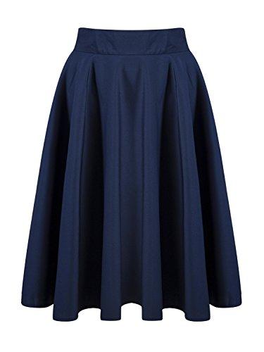 - PERSUN Women's Basic Flared High Waist Midi Skater Skirt,Blue,1X