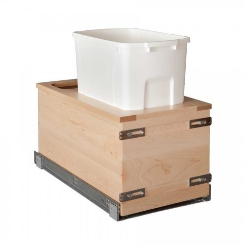 (Century Components SIGBM11PF-50 Kitchen Pull Out Waste Bin Container - 50 Qt White Single - Maple - Soft Close Bottom Mount, 11-7/8
