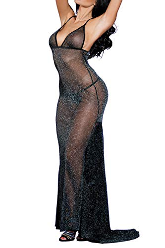 Mesh Nightgown - SUNSPICE Sexy Sheer Black Shining Mesh Long Nightgown Deep-V Gown Dress for Women