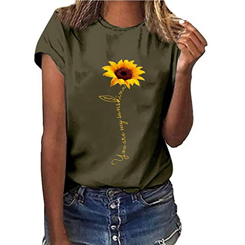 Londony❀♪ Sunflower T-Shirt Women Cute Funny Graphic Tee Teen Girls Casual Short Sleeve Shirt Tops Summer T Shirt Army Green