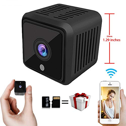 Mini Spy Camera HD WiFi | Small Hidden Wireless Nanny Cam with Remote Monitoring | Infrared Night Vision and Motion Detection | Surveillance Camera with Built-in Battery