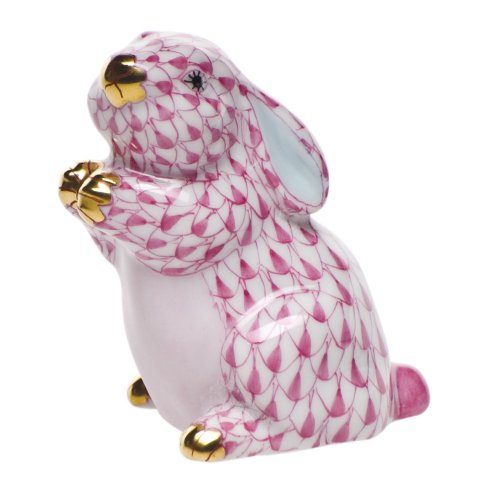 Herend Bunny Figurines (Herend Figurine Pudgy Bunny Rabbit Raspberry Fishnet)