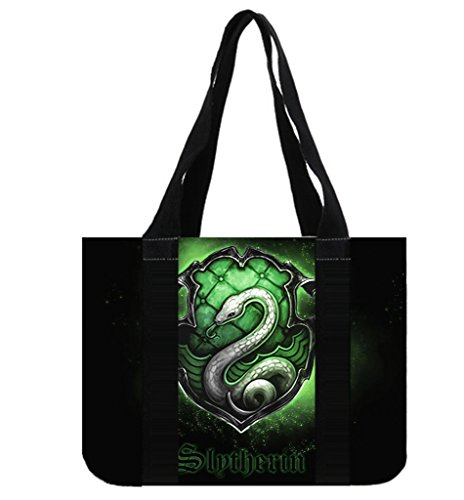 Custom Harry Potter Slytherin Symbol Canvas Tote Bag Reusable Shopping Bag (2 Sides) (Slytherin Symbol)