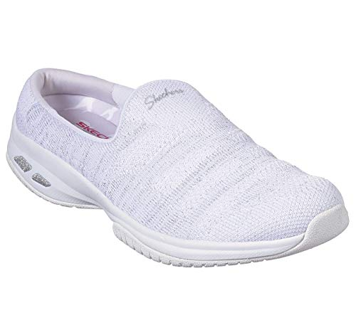 Skechers Relaxed Fit Commute Knitastic Womens Sneaker Clogs White/Silver 8.5 (Square Fairview)